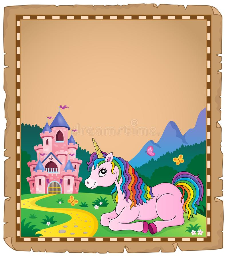 Parchment with lying unicorn theme 3 royalty free illustration