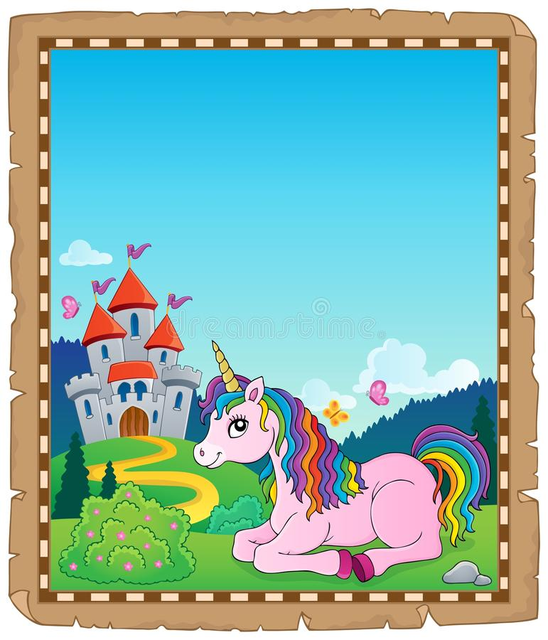 Parchment with lying unicorn theme 2 vector illustration