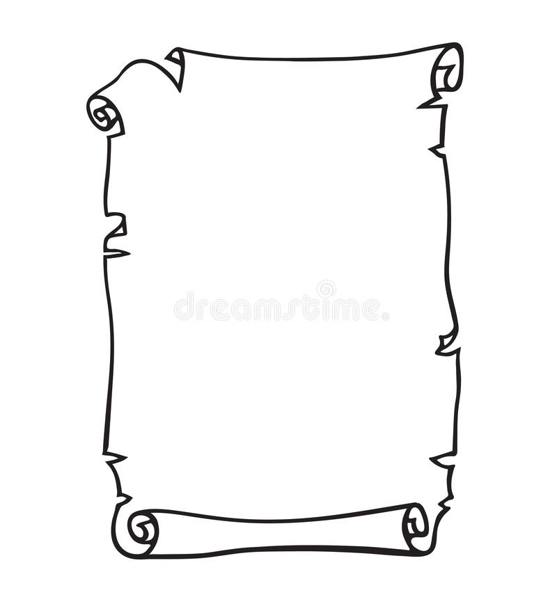 Parchment, old paper scroll. Place for text. Black and white hand drawn vector. royalty free illustration