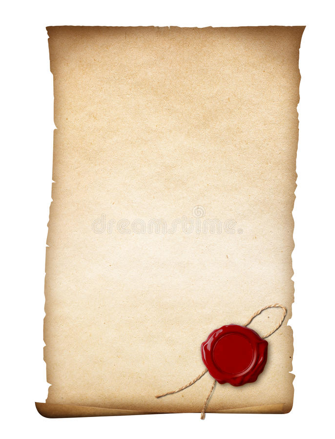Parchment or old paper with wax seal stock photo