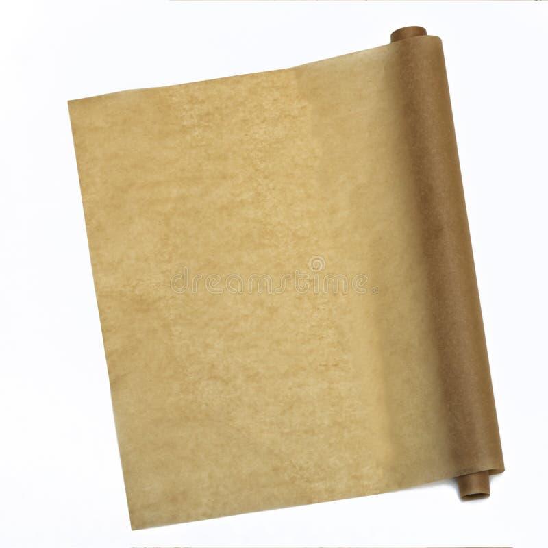 parchment Papel do cozimento no tampo da mesa para um menu ou uma receita, vista superior fotos de stock royalty free