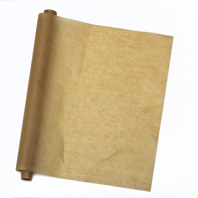 parchment Papel do cozimento Vista de acima Isolado no fundo branco fotografia de stock royalty free