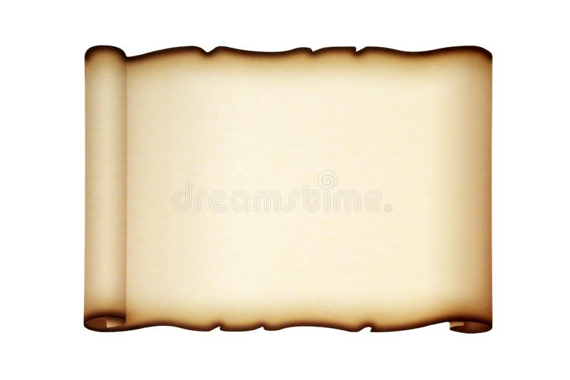 Parchment Paper Scroll. Isolated on white background royalty free stock photo