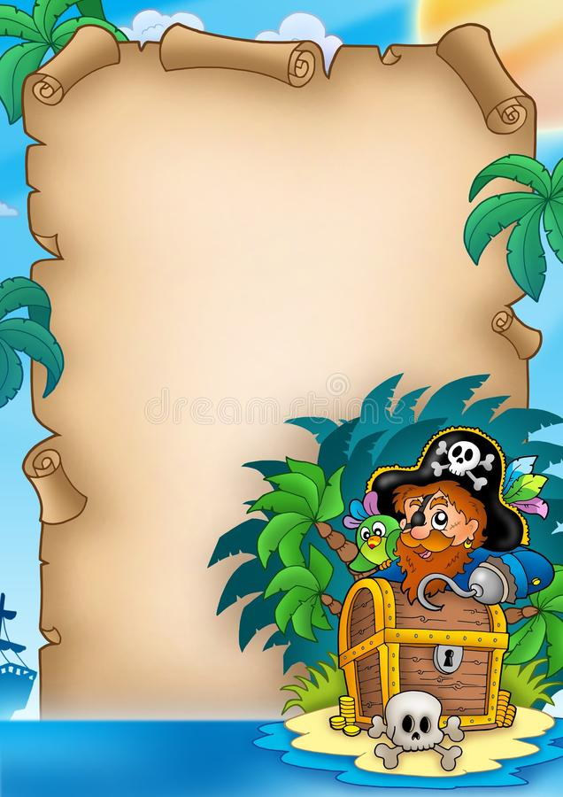 Parchment with pirate on island royalty free illustration
