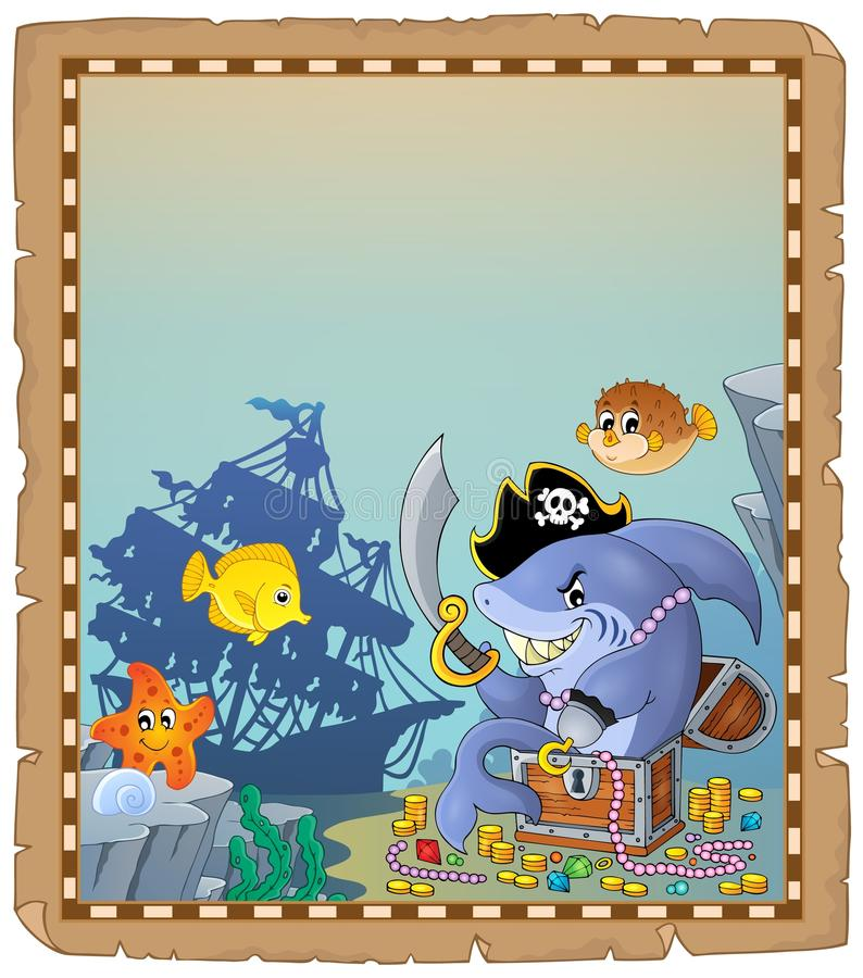 Parchment with pirate shark 1 stock illustration