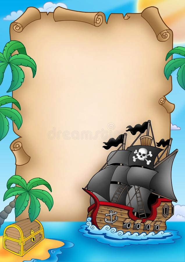 Parchment with pirate vessel stock illustration