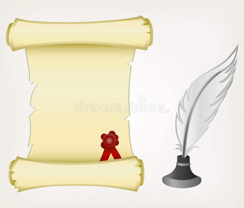 Parchment scroll and feather stock illustration