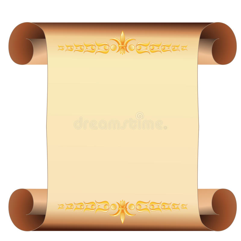 Download Parchment Scroll With Gold Decoration Stock Vector - Image: 22626664