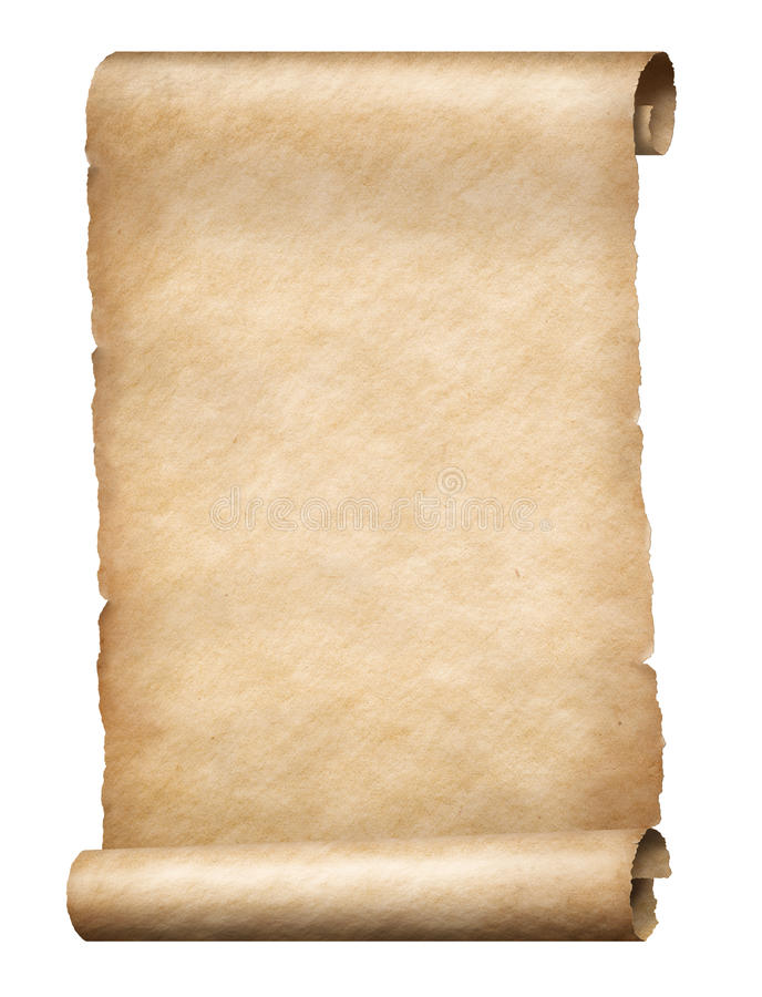 Parchment scroll. Old parchment scroll isolated vertically oriented stock image