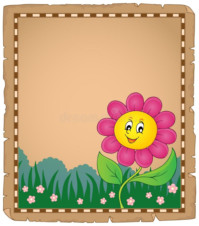 Free Parchment With Happy Flower 2 Stock Image - 111629811