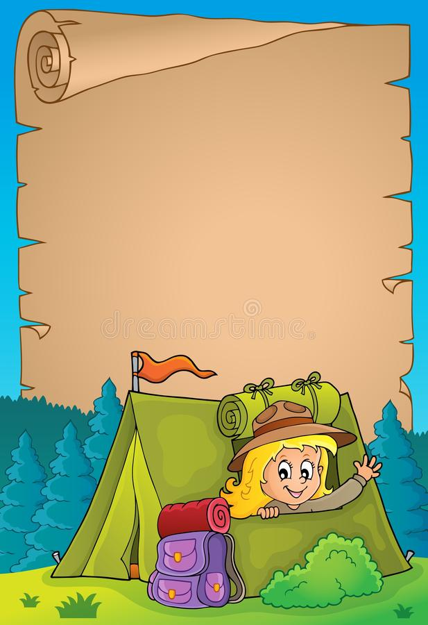 Free Parchment With Scout Girl In Tent 2 Stock Image - 150409471