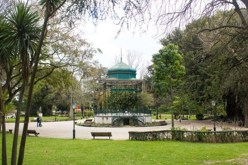Parcial view of Estrela Park, with its iconic bandstand, Lisbon, Portugal stock images