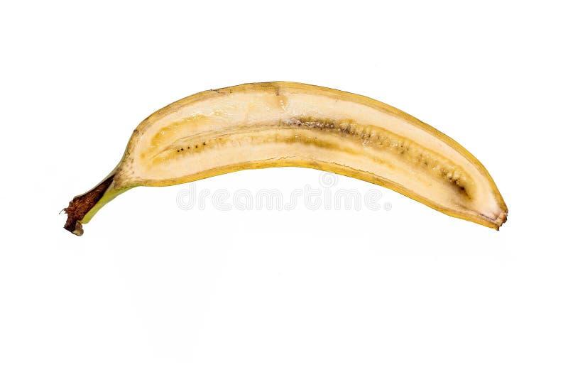 Parcialmente bananan no fundo branco imagem de stock