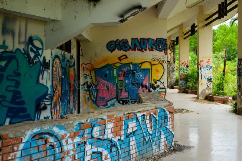 Parco abbandonato dell'acqua, tonalità fotografia stock