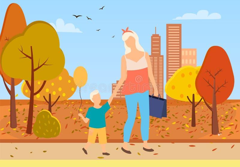Parco Autumn Trees della città della passeggiata del bambino del figlio e della madre illustrazione di stock