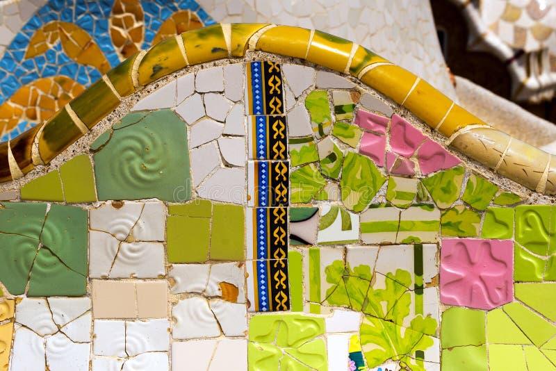 Parco ceramico Guell - Barcellona Spagna del banco fotografie stock