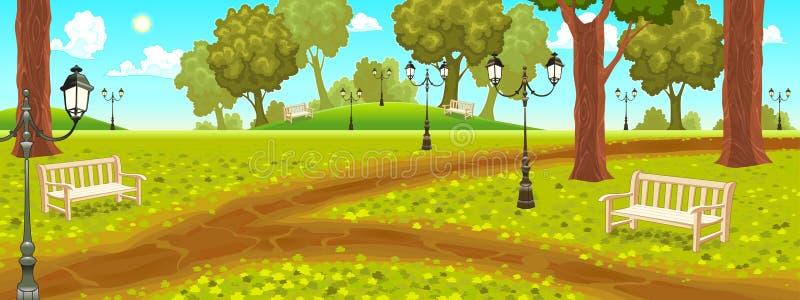 Parco con i banchi e le lampade di via illustrazione di stock