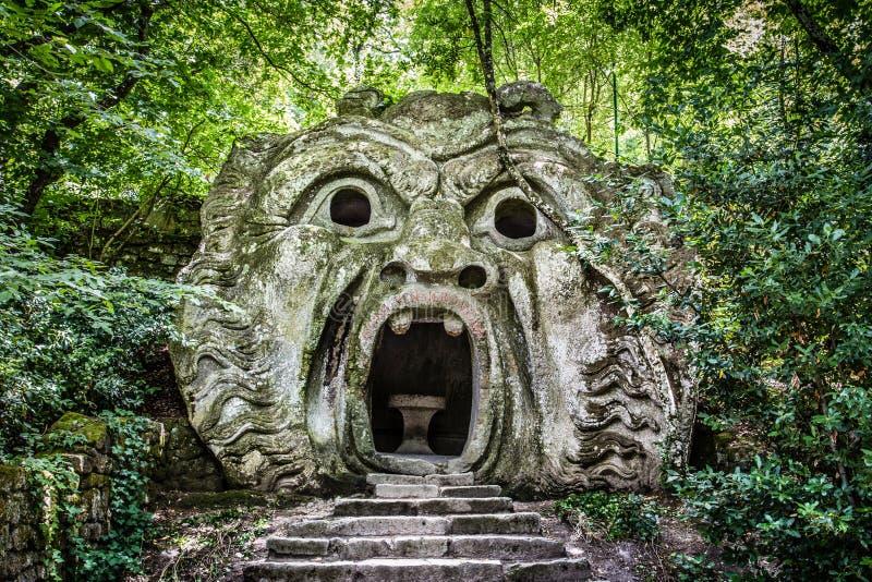 Parco dei Mostri (妖怪的公园)在博马尔佐,拉齐奥,意大利 库存照片