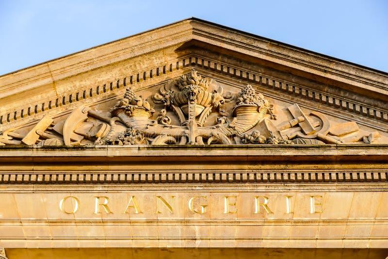Parco del museo del orangerie, immagine della foto una bella vista panoramica della città del Metropolitan di Parigi immagini stock