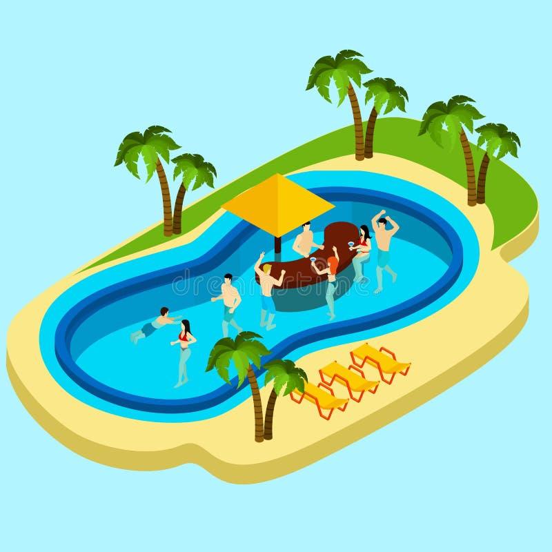 Parco dell'acqua ed illustrazione degli amici royalty illustrazione gratis