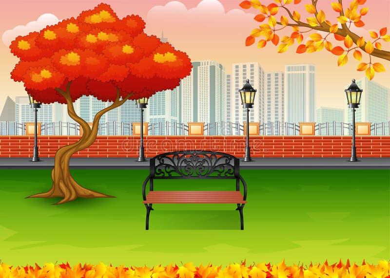 Parco della città di autunno con il fondo della costruzione della città illustrazione vettoriale