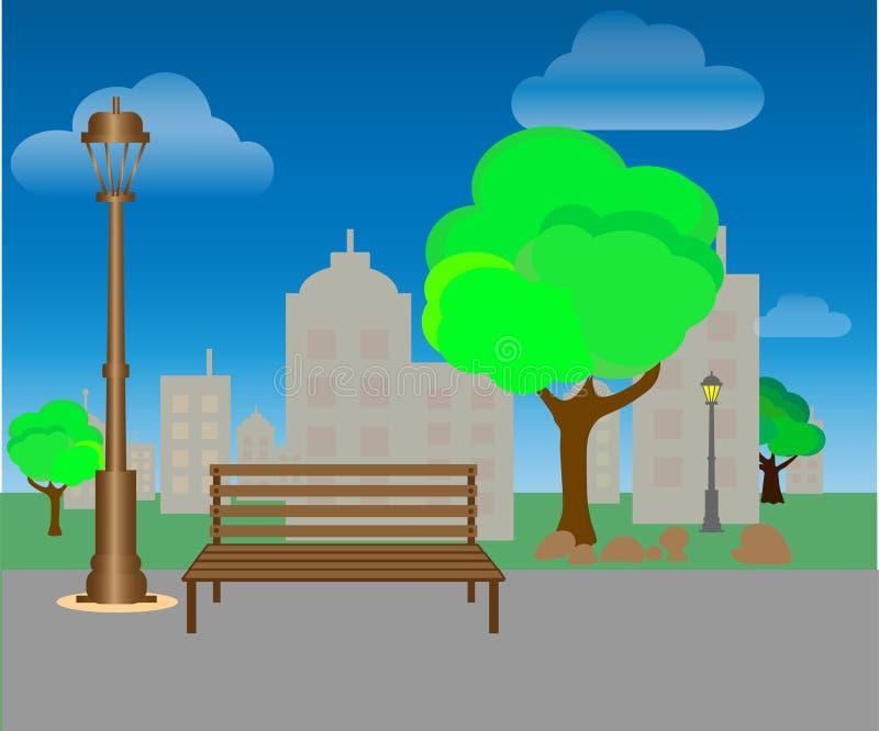 Parco della citt? con gli alberi ed i banchi Fondo verde Vettore illustrazione vettoriale