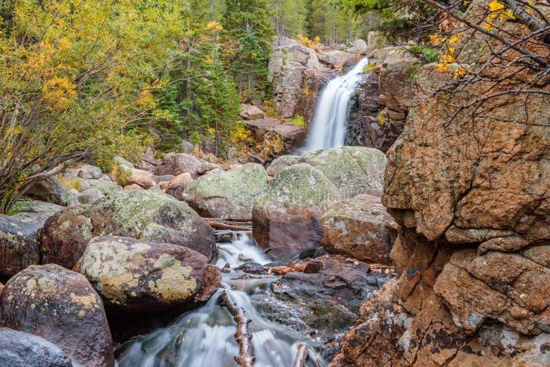 Parco di Alberta Falls Rocky Mountain National fotografia stock libera da diritti