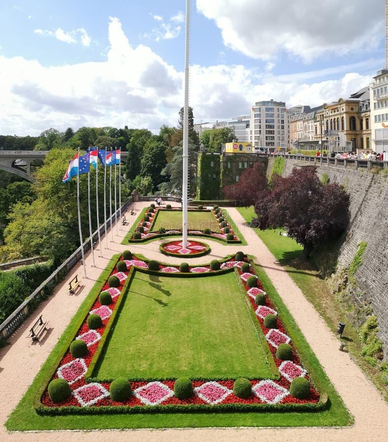 Parco di Bruxelles con albero di bandiera immagine stock