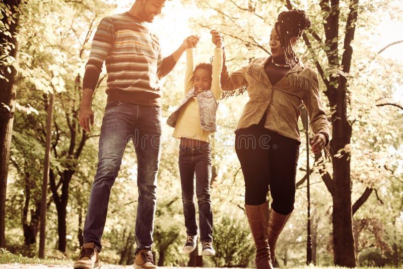 Parco di camminata della depressione della famiglia afroamericana insieme fotografia stock libera da diritti