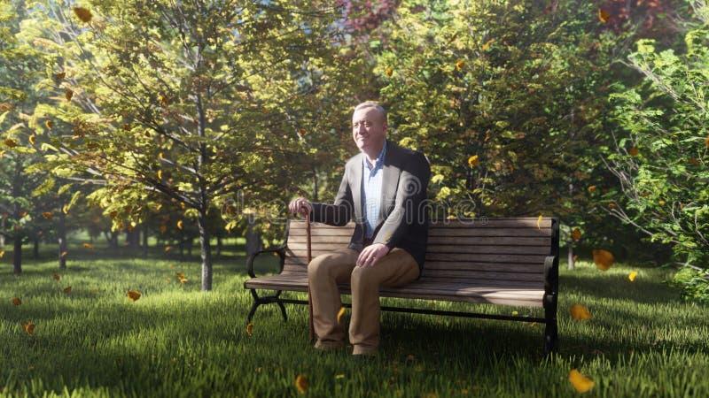 Parco di colore di autunno E Il nonno anziano sta sedendosi su un banco di parco mosca illustrazione di stock