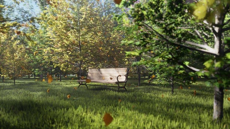 Parco di colore di autunno E Un banco di parco solo Foglie di autunno della mosca 3d royalty illustrazione gratis