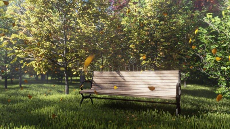 Parco di colore di autunno E Un banco di parco solo Foglie di autunno della mosca 3d illustrazione di stock