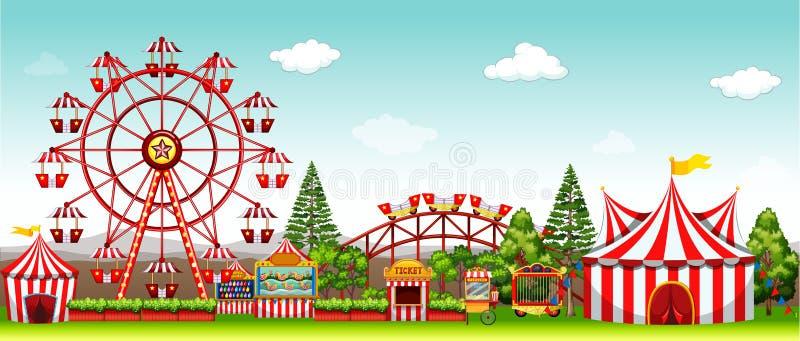 Parco di divertimenti al giorno illustrazione di stock
