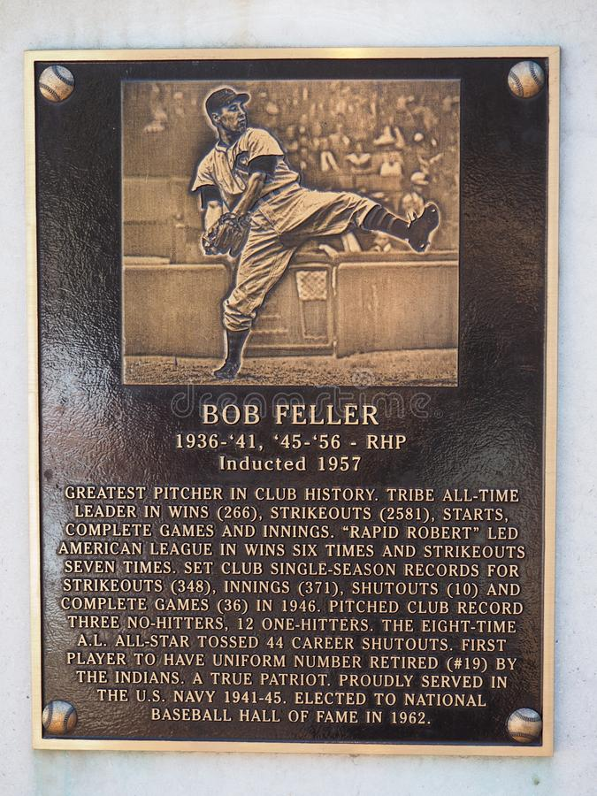 Parco di eredità - 19 Bob Feller - campo progressivo - bandiera dell'Ohio - di Cleveland - U.S.A. immagini stock