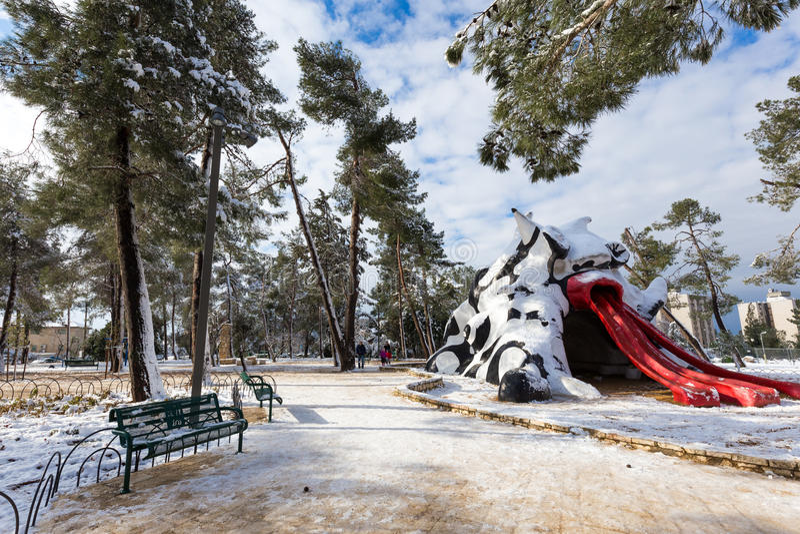 Parco di Gerusalemme in neve fotografia stock