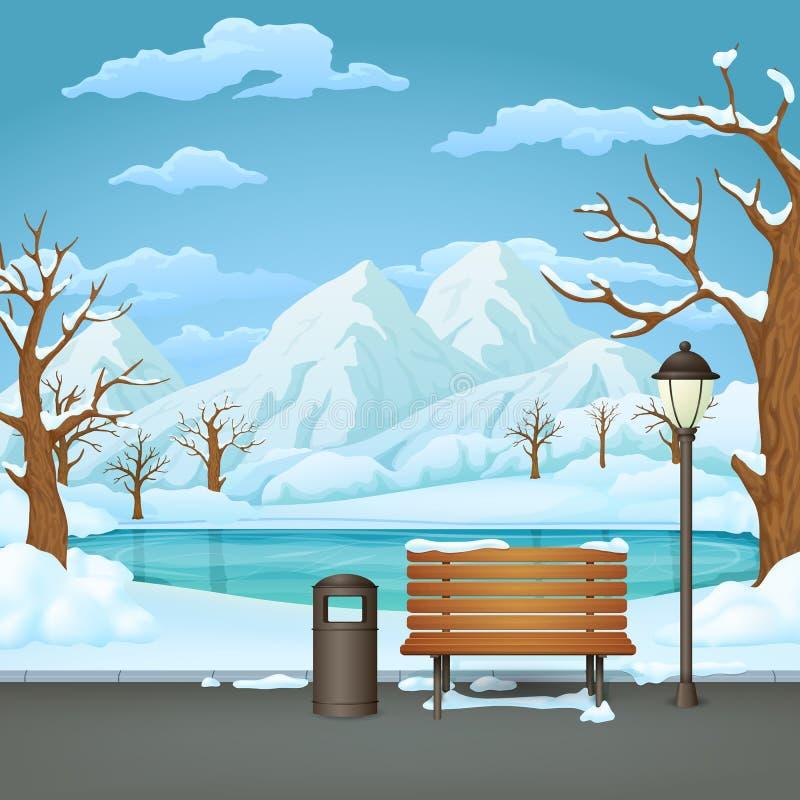 Parco di giorno di inverno Lampada innevata del banco di legno, del bidone della spazzatura e di via con il lago congelato e le m illustrazione di stock