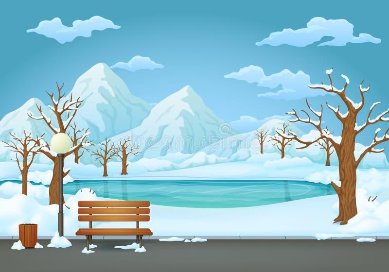 Parco di giorno di inverno Lampada innevata del banco di legno, del bidone della spazzatura e di via con un fiume congelato e le  illustrazione di stock