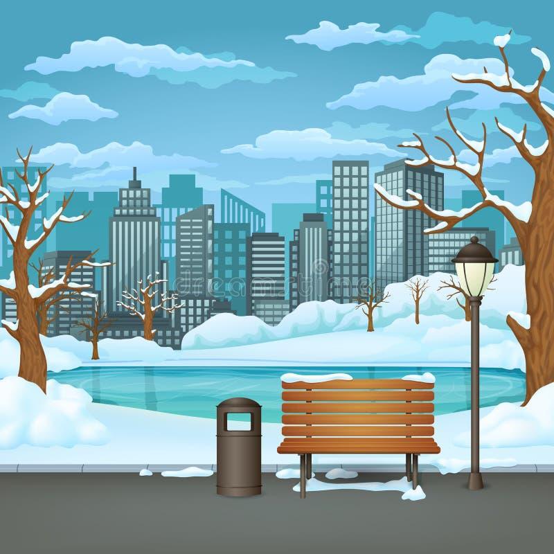 Parco di giorno di inverno Lampada innevata del banco di legno, del bidone della spazzatura e di via su una traccia del parco del royalty illustrazione gratis