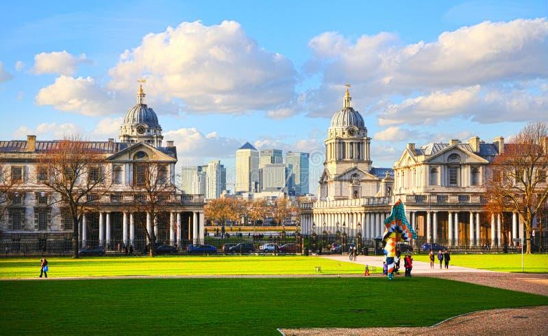 Parco di Greenwich, Canary Wharf 2014 immagine stock libera da diritti