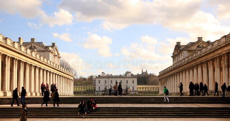 Parco di Greenwich, istituto universitario reale della marina, palazzo della regina s fotografia stock