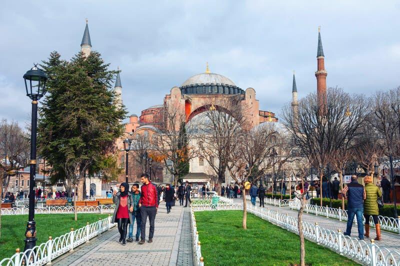 Parco di Hagia Sophia a Costantinopoli, Turchia immagine stock libera da diritti