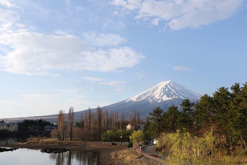 Parco di Kawaguchiko vicino al lago ed alle viste del monte Fuji fotografie stock libere da diritti