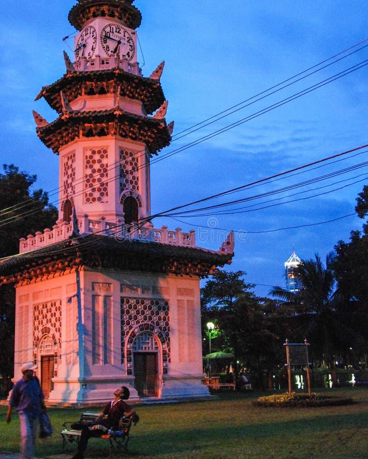 Parco di Lumpini alla notte Bangkok - in Tailandia fotografia stock libera da diritti