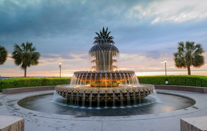 Parco di lungomare della fontana dell'ananas dello Sc di Charleston fotografia stock libera da diritti