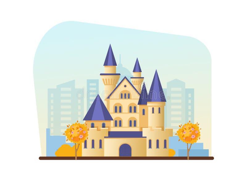 Parco di ricreazione di autunno, complesso di spettacolo del gioco, castello, fortezza, cottage solido illustrazione vettoriale