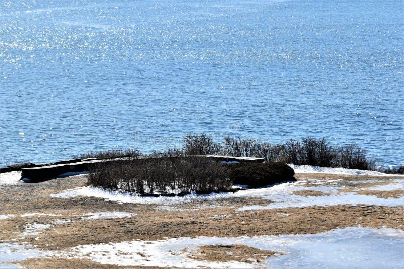 Parco di stato di due luci e vista di oceano circostante su capo Elizabeth, la contea di Cumberland, Maine, ME, Stati Uniti, Stat fotografia stock