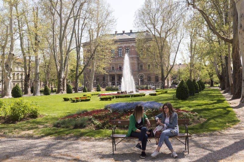 Parco di Zrinjevac a Zagabria, capitale croato fotografie stock