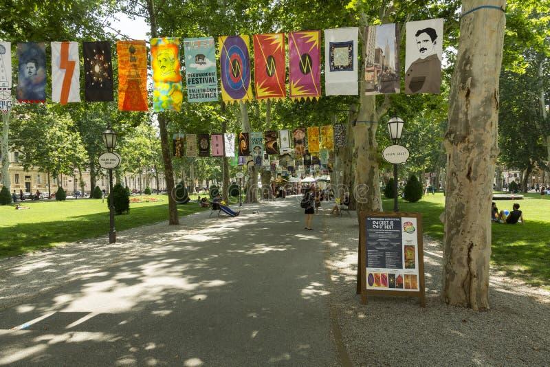Parco di Zrinjevac a Zagabria, capitale croato fotografia stock