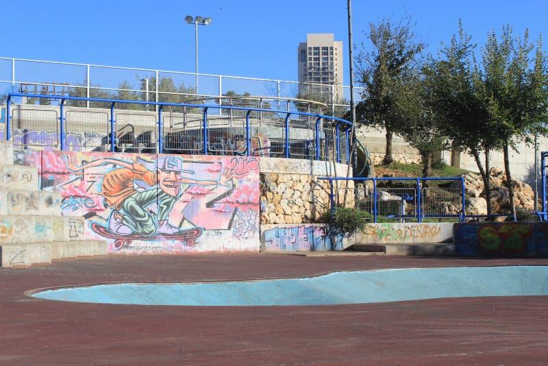 Parco e graffiti del pattino a Gerusalemme, Israele fotografia stock libera da diritti