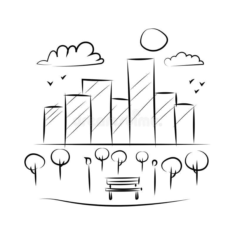 Parco e schizzo bianco nero di costruzione del paesaggio della lampada del banco illustrazione di stock